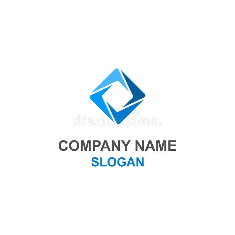 Αφηρημένο τετραγωνικό μπλε λογότυπο ελεύθερη απεικόνιση δικαιώματος