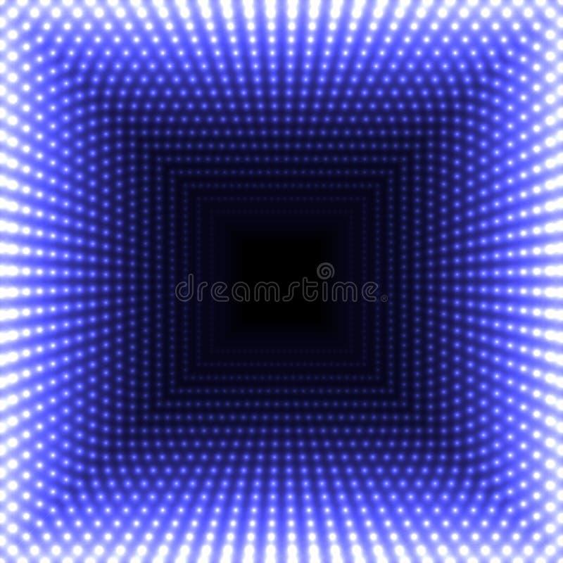 Αφηρημένο τετραγωνικό υπόβαθρο καθρεφτών οδηγήσεων Μπλε φω'τα καύσης που εξασθενίζουν στο κέντρο διανυσματική απεικόνιση
