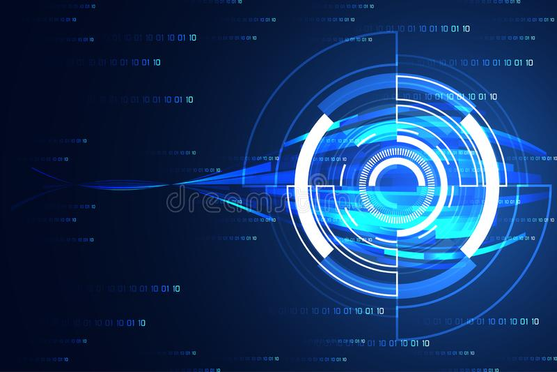 Αφηρημένο τεχνολογίας μέλλον κύκλων έννοιας σύγχρονο στο δυαδικό γεια te διανυσματική απεικόνιση