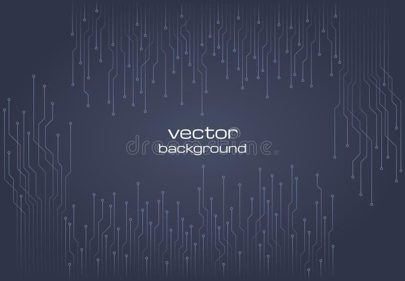 Αφηρημένο τεχνολογικό γκρίζο υπόβαθρο με τα στοιχεία του μικροτσίπ διανυσματική απεικόνιση