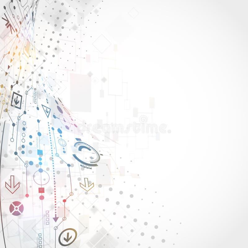 Αφηρημένο τεχνολογικό υπόβαθρο με το διάφορο τεχνολογικό ele διανυσματική απεικόνιση
