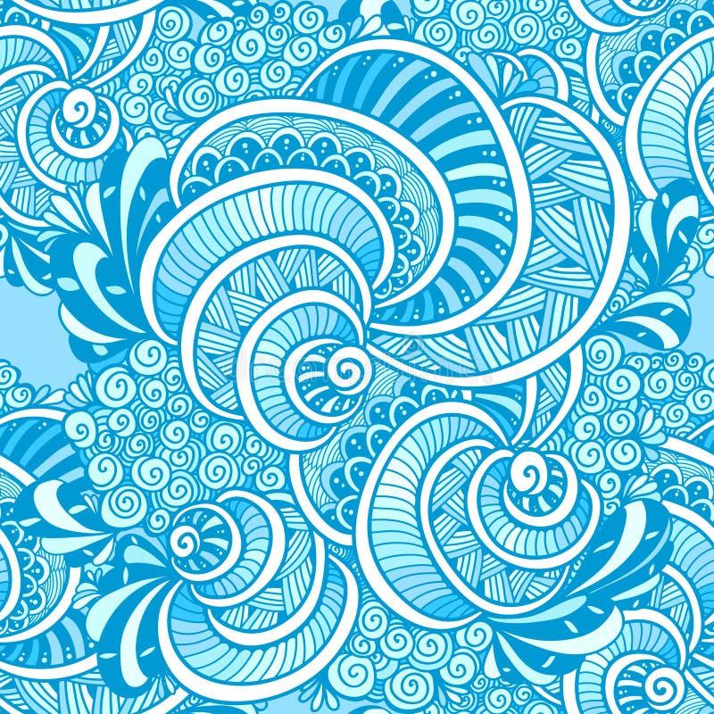 Αφηρημένο της Zen σύγχυσης μπλε σχεδίων της Zen doodle θαλάσσιο άνευ ραφής ελεύθερη απεικόνιση δικαιώματος