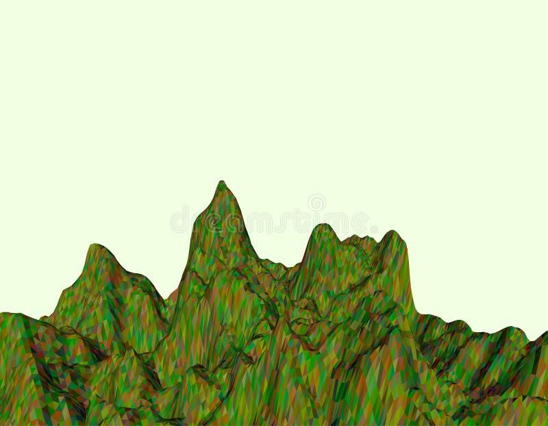 αφηρημένο τοπίο Επιφάνεια βουνών Polygonal διανυσματικός ζωηρόχρωμος απεικόνιση αποθεμάτων