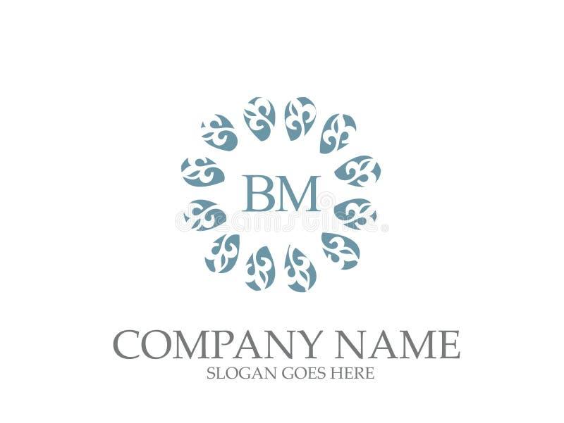 Αφηρημένο του BM επιστολών σχέδιο λογότυπων μονογραμμάτων κομψό διανυσματική απεικόνιση