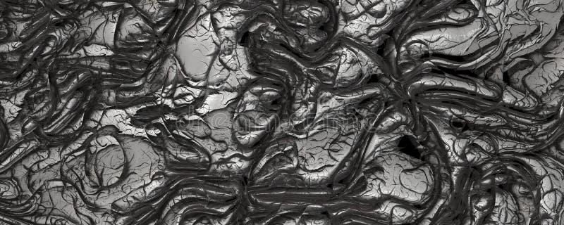 Αφηρημένο τρισδιάστατο δίνοντας ασημένιο υπόβαθρο σύστασης δέρματος απεικόνιση αποθεμάτων