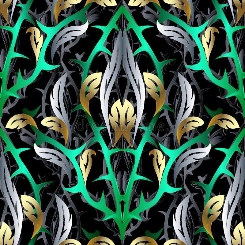 Αφηρημένο τρισδιάστατο διανυσματικό άνευ ραφής σχέδιο Floral υπόβαθρο με το fant απεικόνιση αποθεμάτων