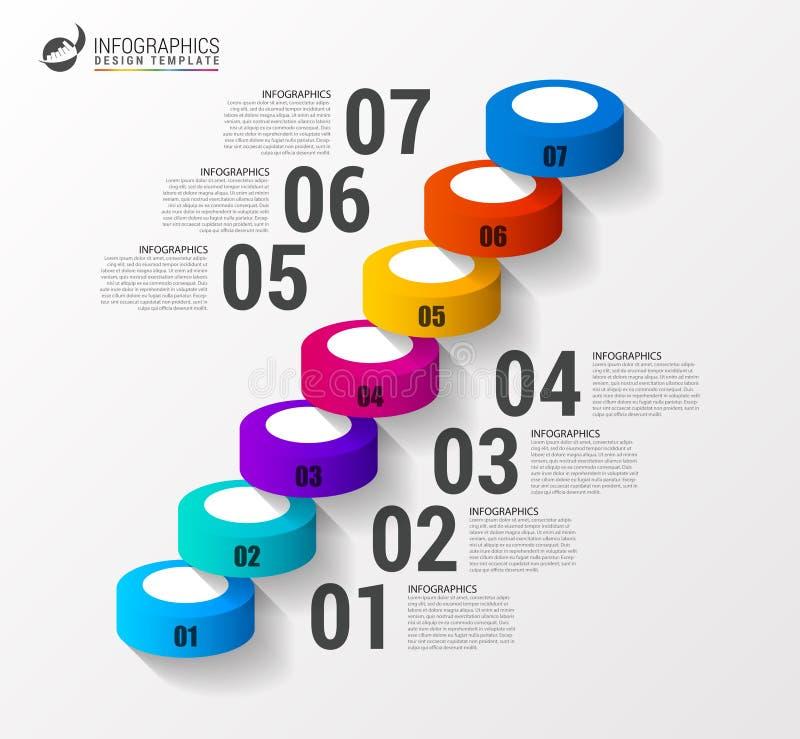 Αφηρημένο τρισδιάστατο πρότυπο infographics ή υπόδειξης ως προς το χρόνο σκαλοπατιών διάνυσμα διανυσματική απεικόνιση