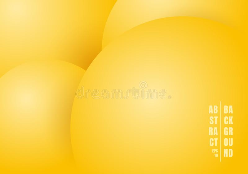Αφηρημένο τρισδιάστατο ρεαλιστικό υγρό ή ρευστό όμορφο υπόβαθρο χρώματος κρητιδογραφιών κύκλων κίτρινο απεικόνιση αποθεμάτων