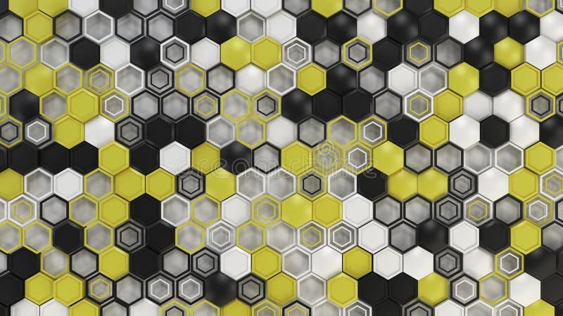 Αφηρημένο τρισδιάστατο υπόβαθρο φιαγμένο από μαύρα, άσπρα και κίτρινα hexagons στο άσπρο υπόβαθρο στοκ φωτογραφία με δικαίωμα ελεύθερης χρήσης