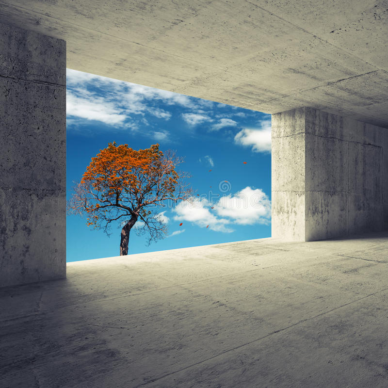 Αφηρημένο τρισδιάστατο εσωτερικό με το φθινοπωρινό κόκκινο δέντρο στο παράθυρο ελεύθερη απεικόνιση δικαιώματος