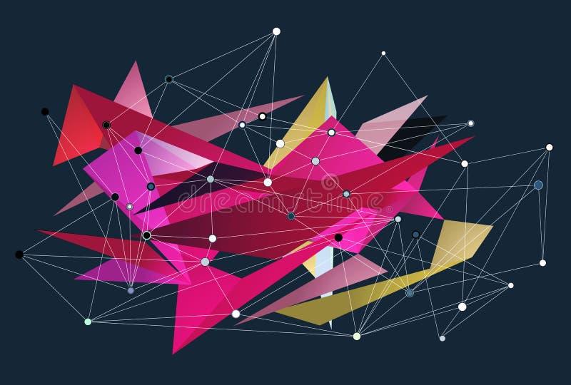 Αφηρημένο τρισδιάστατο διανυσματικό γεωμετρικό υπόβαθρο τριγώνων Οι γραμμές που συνδέθηκαν με τα σημεία, χαμηλό σχέδιο πολυγώνων, διανυσματική απεικόνιση