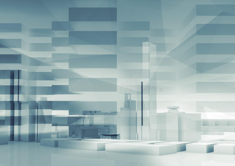 Αφηρημένο τρισδιάστατο υπόβαθρο πόλεων cityscape διανυσματική απεικόνιση