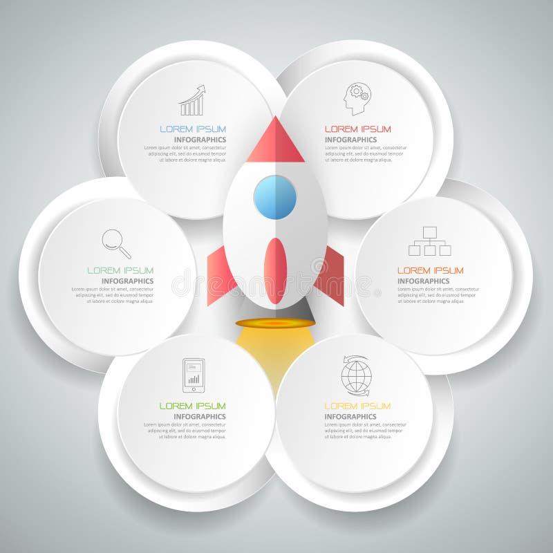 Αφηρημένο τρισδιάστατο infographic πρότυπο 6 βήματα, διανυσματική απεικόνιση