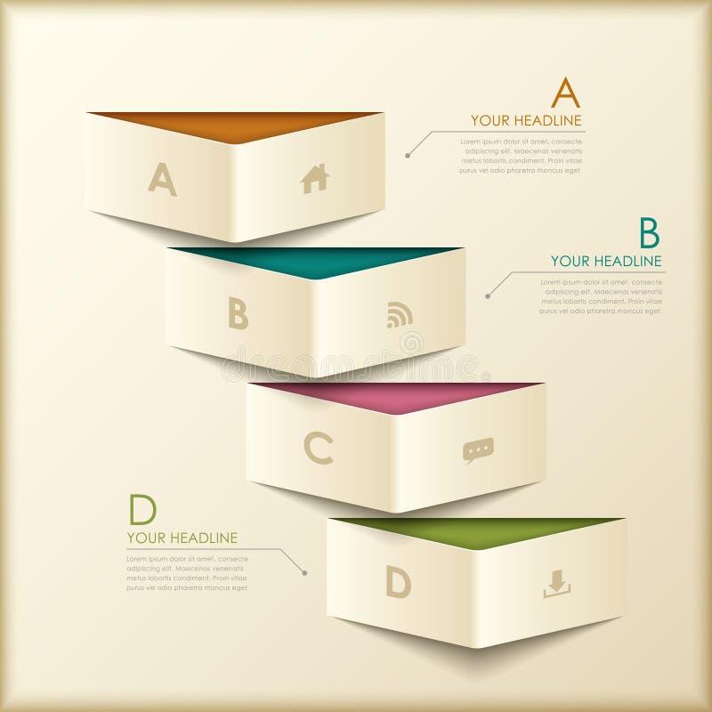 Αφηρημένο τρισδιάστατο infographics εμβλημάτων origami απεικόνιση αποθεμάτων