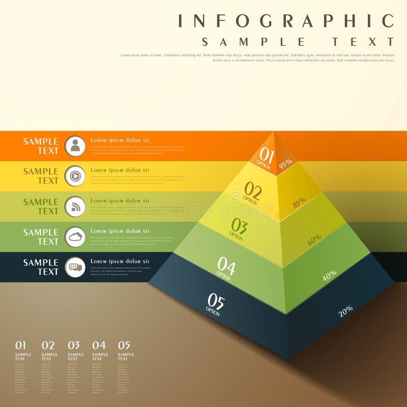 Αφηρημένο τρισδιάστατο infographics διαγραμμάτων πυραμίδων απεικόνιση αποθεμάτων