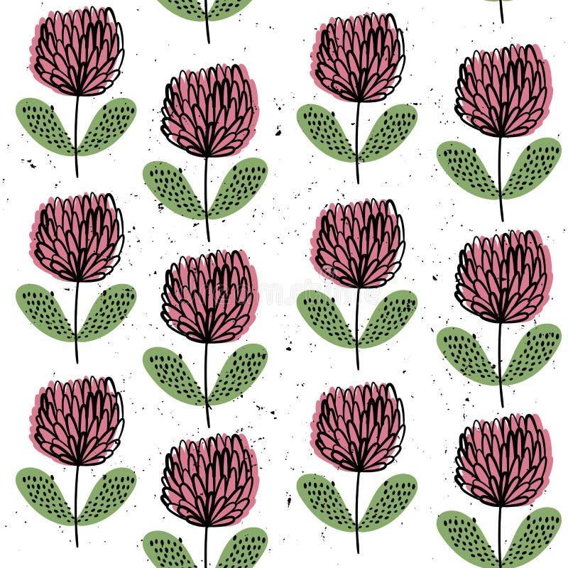 αφηρημένο τριφύλλι άνευ ραφής διάνυσμα προτύπ&omeg φως λουλουδιών ανασκόπησης playnig Hand-drawn ύφος Σκανδιναβικά κίνητρα διανυσματική απεικόνιση