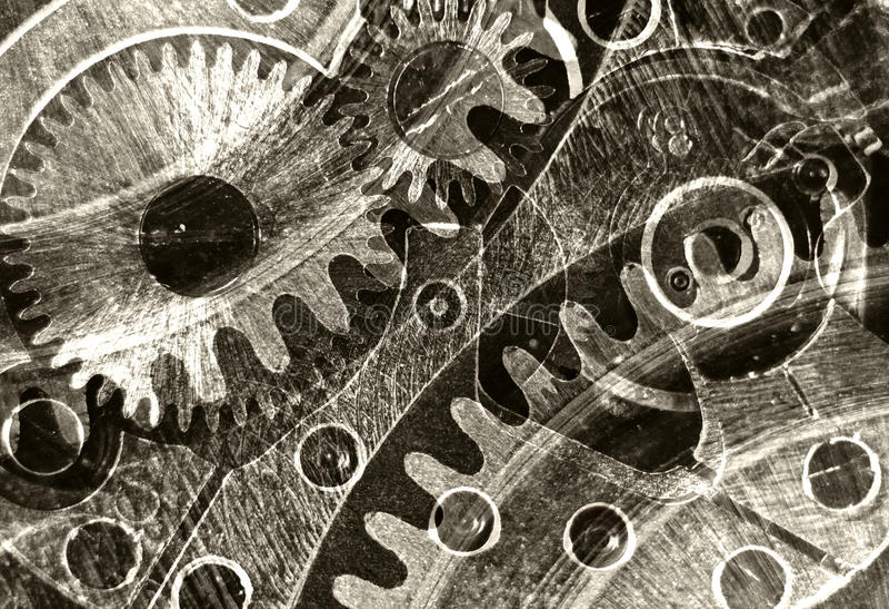 Αφηρημένο τυποποιημένο κολάζ μιας μηχανικής συσκευής στοκ εικόνα