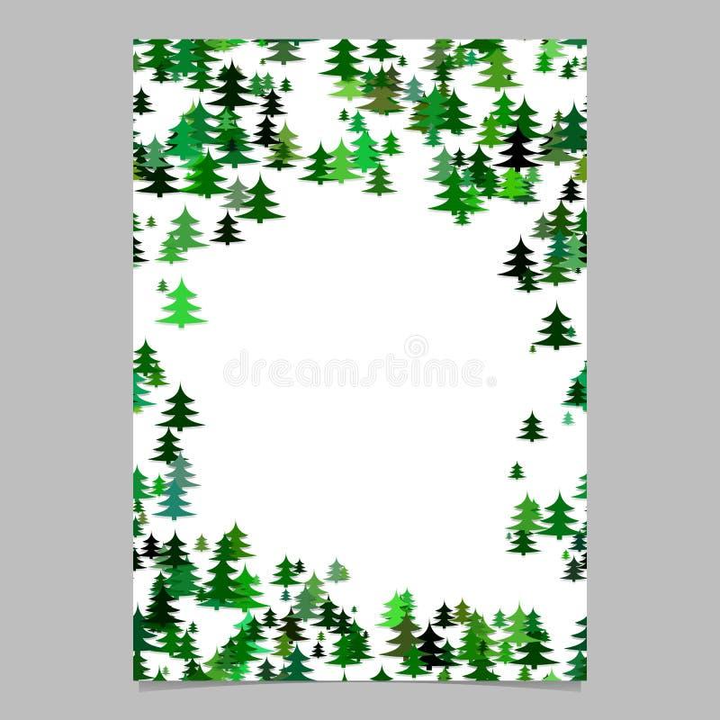 Αφηρημένο τυχαίο εποχιακό πρότυπο φυλλάδιων σχεδίου δέντρων πεύκων - κενή χειμερινή διανυσματική σελίδα γραφική από τα τυποποιημέ ελεύθερη απεικόνιση δικαιώματος