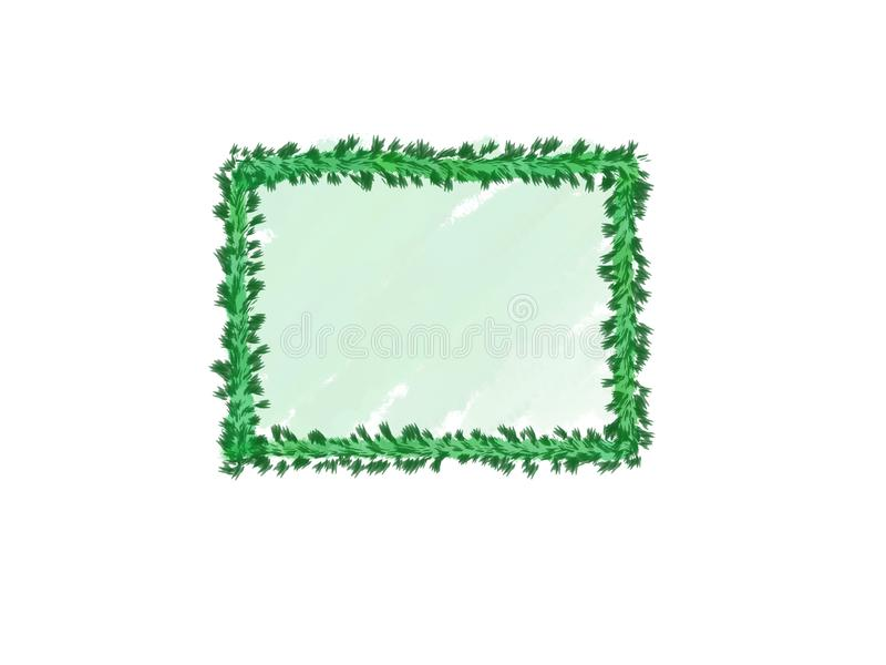 Αφηρημένο υδατόχρωμα μελανιού, πράσινο πλαίσιο φύλλων στο άσπρο υπόβαθρο με το διάστημα αντιγράφων για το έμβλημα ή λογότυπο ελεύθερη απεικόνιση δικαιώματος