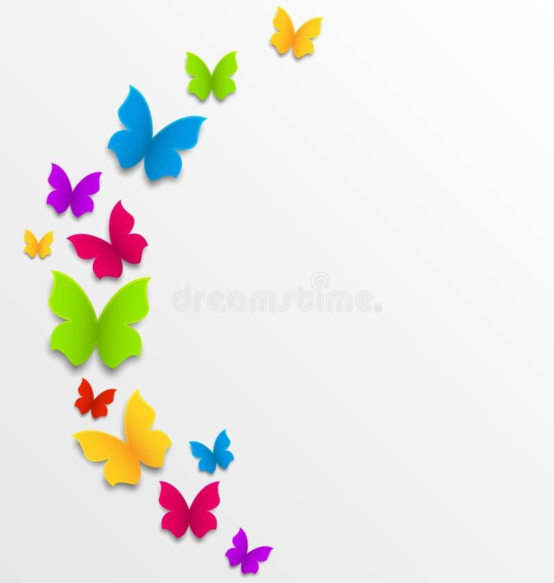 Αφηρημένο υπόβαθρο άνοιξη με τις πεταλούδες απεικόνιση αποθεμάτων