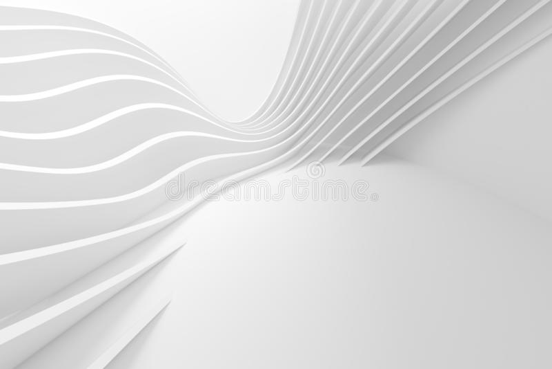 Αφηρημένο υπόβαθρο αρχιτεκτονικής τρισδιάστατη απόδοση του άσπρου κτηρίου Circularl ελεύθερη απεικόνιση δικαιώματος
