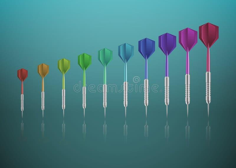 Αφηρημένο υπόβαθρο, βέλη των διαφορετικών χρωμάτων Σε ένα πράσινο υπόβαθρο με την αντανάκλαση ελεύθερη απεικόνιση δικαιώματος