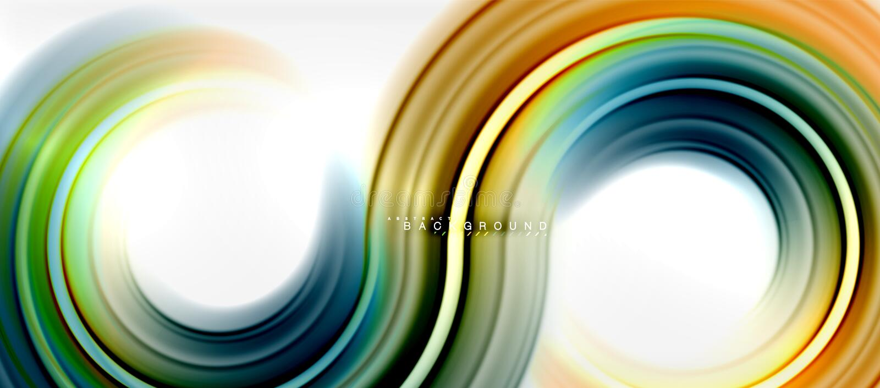 Αφηρημένο υπόβαθρο γραμμών χρώματος ουράνιων τόξων ρευστό - ο στρόβιλος και οι κύκλοι, στριμμένα υγρά χρώματα σχεδιάζουν, ζωηρόχρ απεικόνιση αποθεμάτων