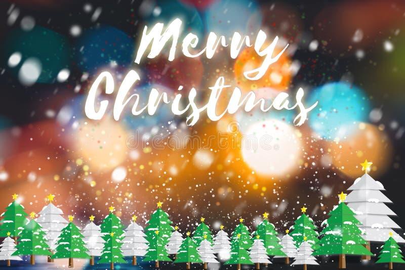 Αφηρημένο υπόβαθρο διακοπών Χριστουγέννων Χριστουγεννιάτικο δέντρο και χιόνι ελεύθερη απεικόνιση δικαιώματος
