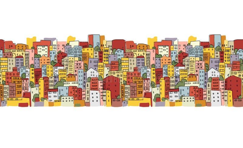 Αφηρημένο υπόβαθρο εικονικής παράστασης πόλης, άνευ ραφής σχέδιο για το σχέδιό σας διανυσματική απεικόνιση