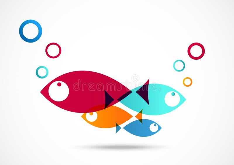 Αφηρημένο υπόβαθρο εικονιδίων ψαριών διανυσματική απεικόνιση