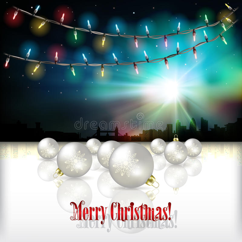 Αφηρημένο υπόβαθρο εορτασμού με τις διακοσμήσεις Χριστουγέννων διανυσματική απεικόνιση