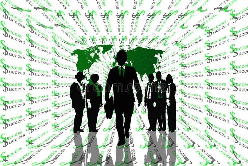 Αφηρημένο υπόβαθρο επιτυχίας με τον παγκόσμιο χάρτη και ομαδική εργασία στις σκιαγραφίες. διανυσματική απεικόνιση