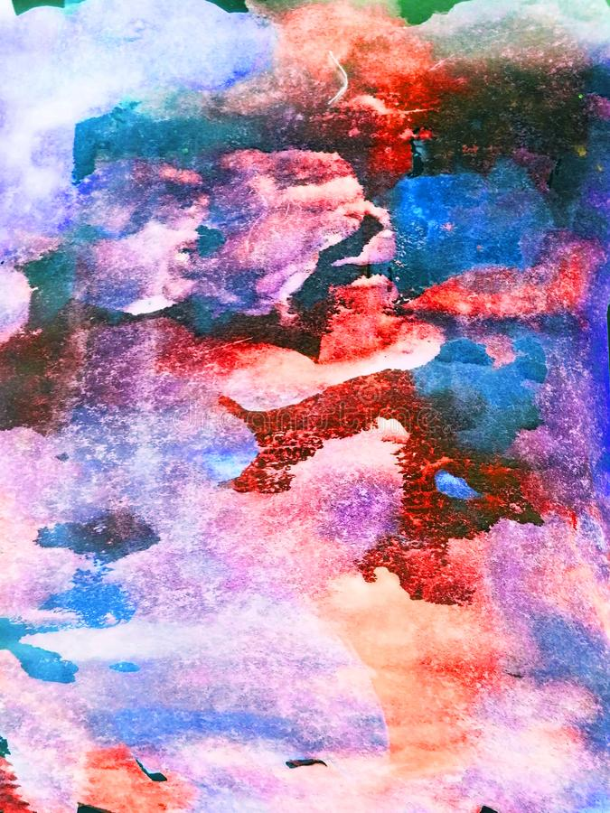 Αφηρημένο υπόβαθρο, ζωγραφισμένη στο χέρι σύσταση, ζωγραφική watercolor, πτώσεις του χρώματος, κηλίδες χρωμάτων Σχέδιο για τα υπό στοκ εικόνες