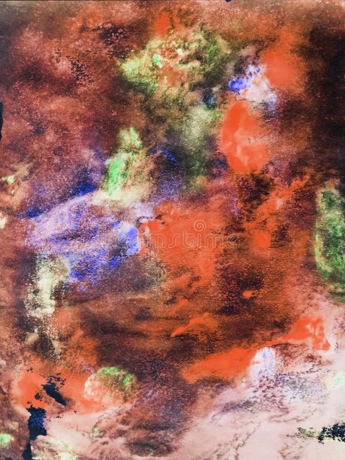 Αφηρημένο υπόβαθρο, ζωγραφισμένη στο χέρι σύσταση, ζωγραφική watercolor, πτώσεις του χρώματος, κηλίδες χρωμάτων Σχέδιο για τα υπό στοκ φωτογραφία με δικαίωμα ελεύθερης χρήσης