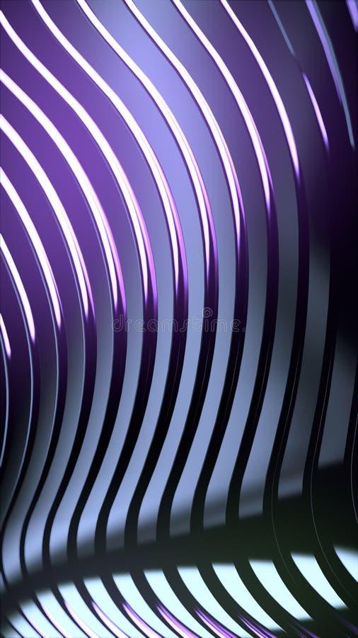 Αφηρημένο υπόβαθρο ζωνών κυμάτων Φωτεινές ρόδινες χρωματισμένες αντανακλάσεις στη σκοτεινή μεταλλική επιφάνεια r διανυσματική απεικόνιση