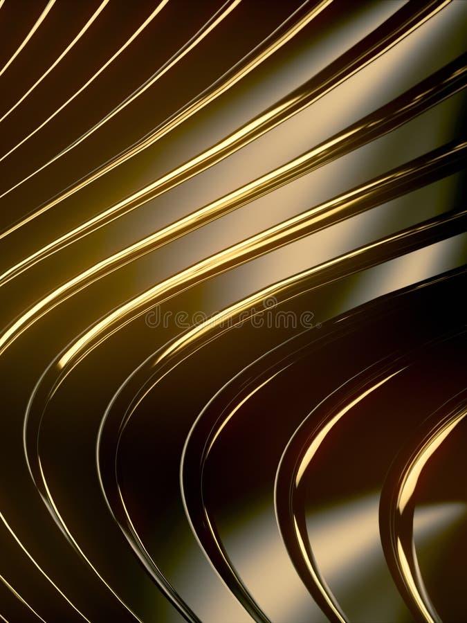 Αφηρημένο υπόβαθρο ζωνών κυμάτων Χρυσές αντανακλάσεις στη σκοτεινή μεταλλική επιφάνεια r διανυσματική απεικόνιση