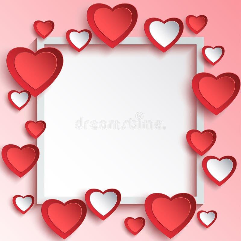 Αφηρημένο υπόβαθρο ημέρας βαλεντίνων με τις τρισδιάστατες καρδιές εγγράφου απεικόνιση αποθεμάτων