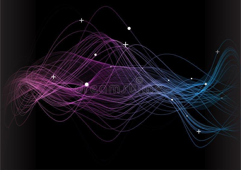 Αφηρημένο υπόβαθρο, κύματα νέου στο μαύρο υπόβαθρο Ψηφιακή έννοια απεικόνιση αποθεμάτων