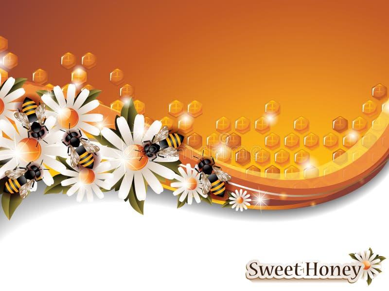 Αφηρημένο υπόβαθρο μελιού με τις μέλισσες εργασίας και τα λουλούδια ανοίξεων απεικόνιση αποθεμάτων