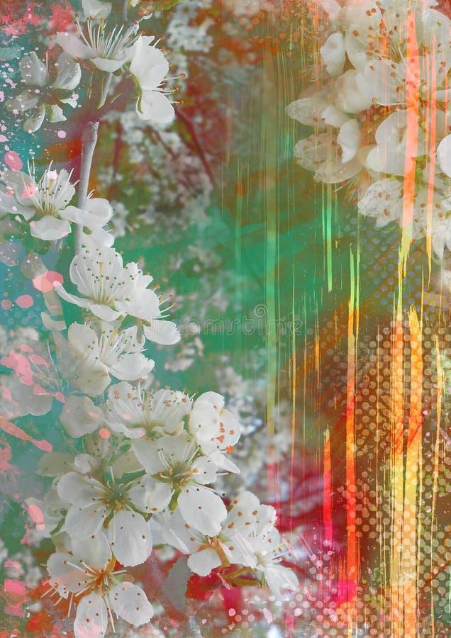 Αφηρημένο υπόβαθρο με τα ανθίζοντας λουλούδια και τις ελαφριές ακτίνες και το έντονο φως απεικόνιση αποθεμάτων