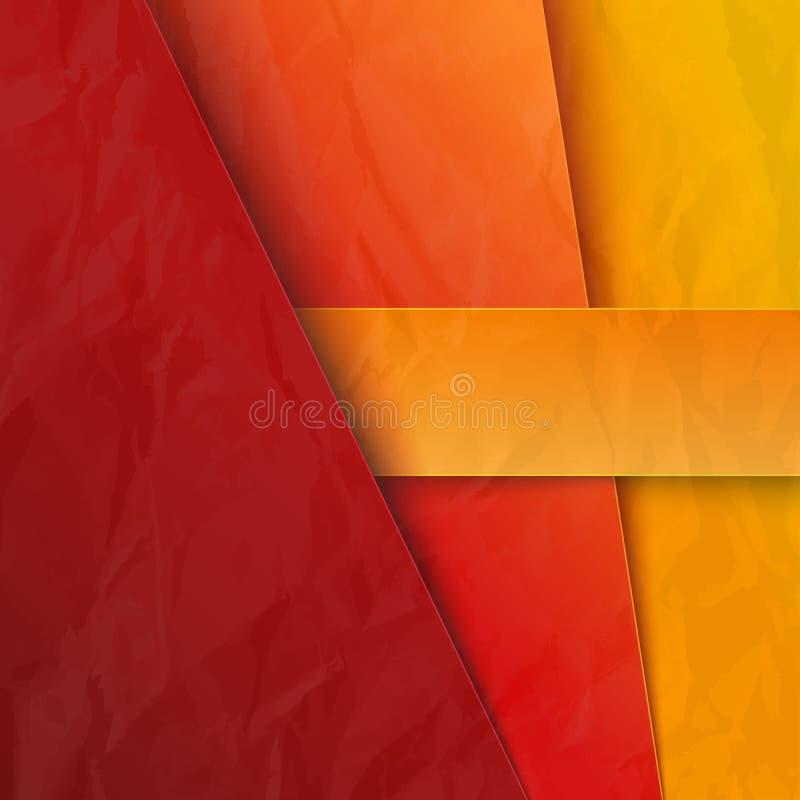 Αφηρημένο υπόβαθρο με τα κόκκινα και πορτοκαλιά στρώματα εγγράφου διανυσματική απεικόνιση