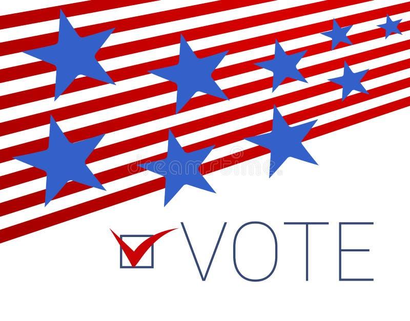 Αφηρημένο υπόβαθρο με τα κόκκινα λωρίδες και τα πετώντας μπλε αστέρια Ψηφοφορία ελεύθερη απεικόνιση δικαιώματος