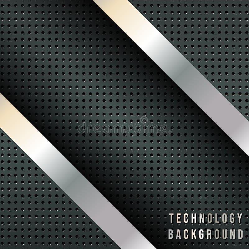 Αφηρημένο υπόβαθρο με τα μεταλλικά διαγώνια λωρίδες, σκηνικό σχεδίου techno διανυσματική απεικόνιση