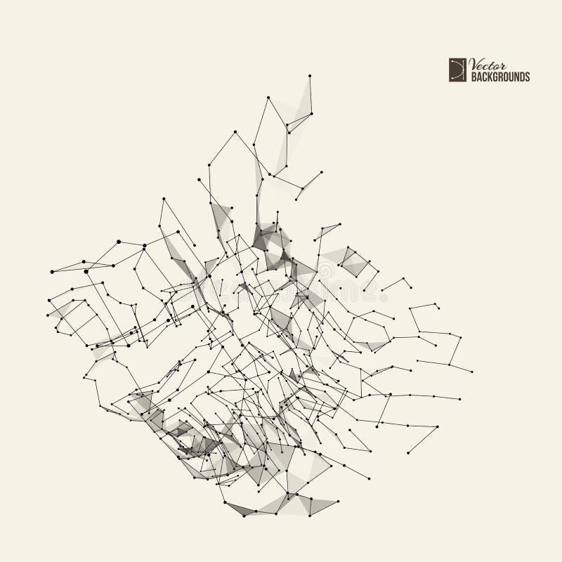 Αφηρημένο υπόβαθρο με τα σημεία και τις γραμμές διανυσματική απεικόνιση