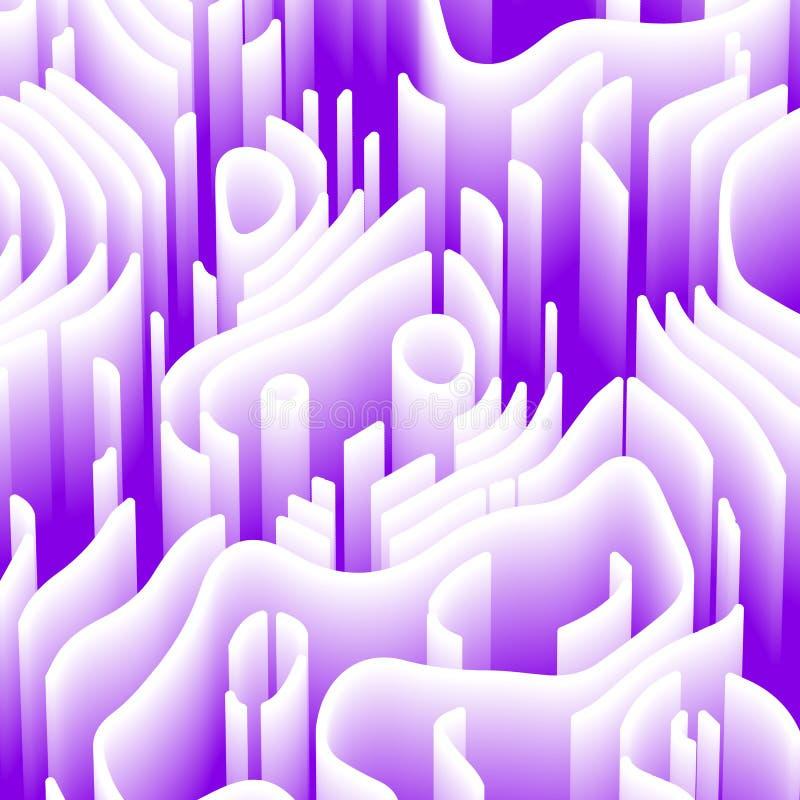 Αφηρημένο υπόβαθρο με τα τρισδιάστατα στοιχεία urple και άσπρη ταπετσαρία με το λαβύρινθο προοπτικής Τεχνικό ύφος με το κύμα διανυσματική απεικόνιση