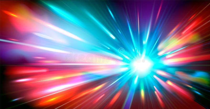 Αφηρημένο υπόβαθρο με τις θολωμένες μαγικές ελαφριές ακτίνες χρώματος νέου επίσης corel σύρετε το διάνυσμα απεικόνισης διανυσματική απεικόνιση