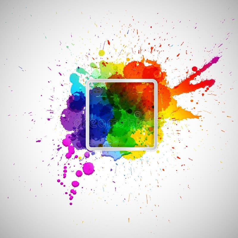 Αφηρημένο υπόβαθρο με τους ζωηρόχρωμους λεκέδες χρωμάτων και πλαίσιο για σας ελεύθερη απεικόνιση δικαιώματος