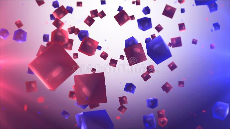 Αφηρημένο υπόβαθρο με τους κόκκινους και μπλε κύβους διανυσματική απεικόνιση