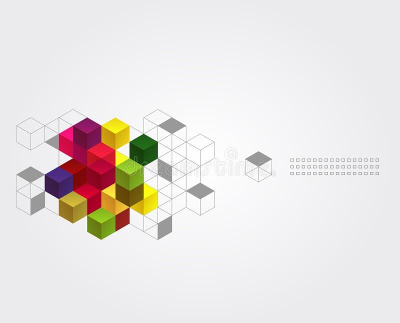 Αφηρημένο υπόβαθρο με τους κύβους χρώματος διανυσματική απεικόνιση