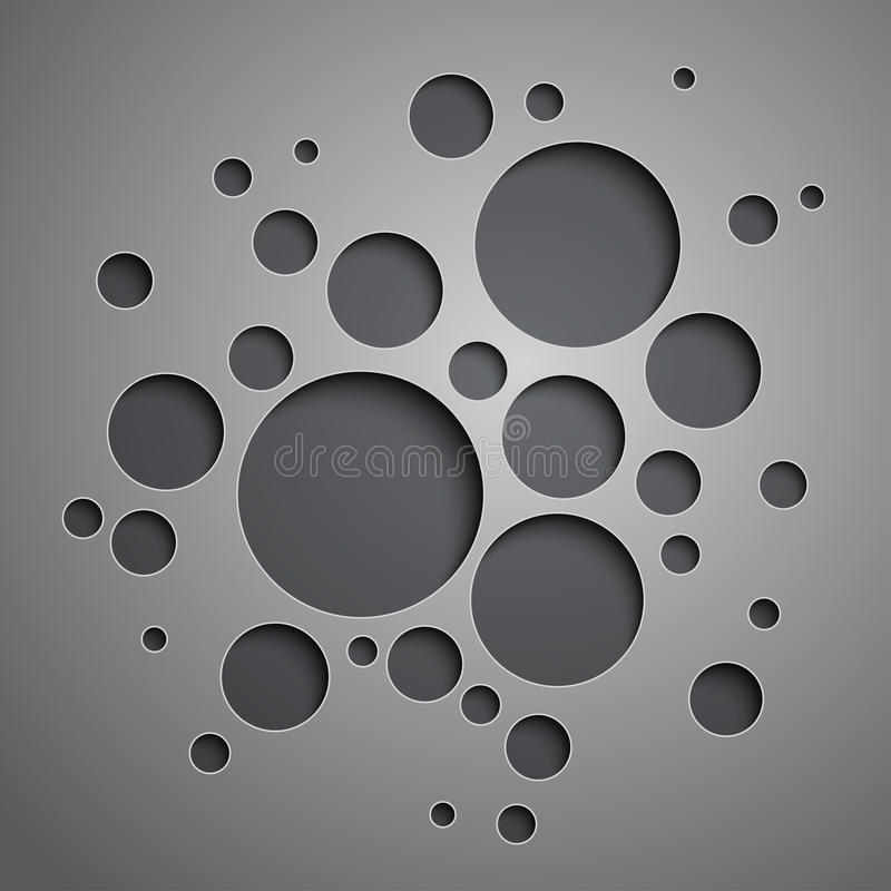 Αφηρημένο υπόβαθρο με τους μαύρους και γκρίζους κύκλους ελεύθερη απεικόνιση δικαιώματος